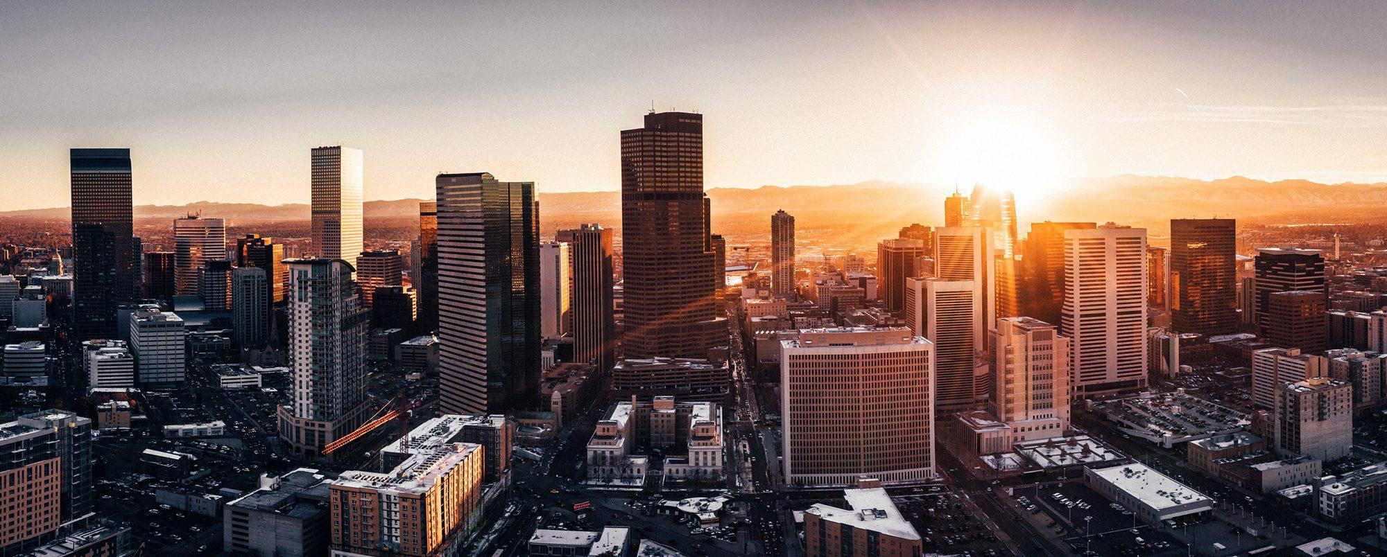 City of Denver at Sunrise