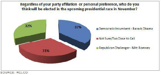 Who do you think will be elected in presidential race 2012 pie chart