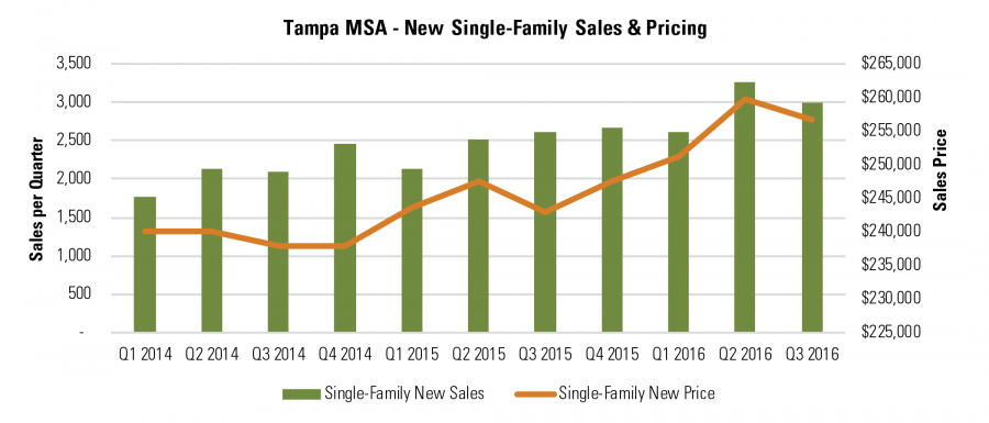 Tampa MSA - New Single-Family Sales & Pricing