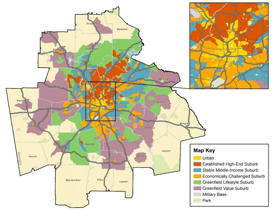 Classification of the Suburbs; Atlanta-Sandy Springs-Roswell, GA MSA